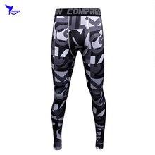 Mens Compression Printed Tights MMA Leggings High Elastic Skinny Jogger Fitness Crossfit Man Trousers Quick Dry Sweatpants Pants