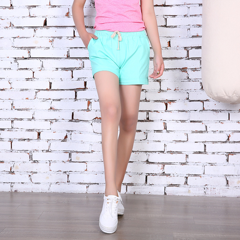 Danjeaner Summer Solid Drawstring Sports   Shorts   Women Casual Loose Cotton Elastic Waist   Short   Femme Candy Colors   Short   Mujer