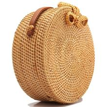 New Women wallet Round Rattan Shoulder Leather Straps Natural Chic bag