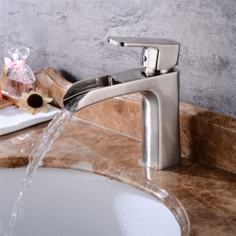 Bathroom Basin Faucet Waterfall Sink Faucet Nickel Brushed Brass Hot & Cold Basin Crane Tap Sink Mixer Tap Washbasin Torneira Bathroom Basin Faucet Waterfall Sink Faucet Nickel Brushed Brass Hot & Cold Basin Crane Tap Sink Mixer Tap Washbasin Torneira