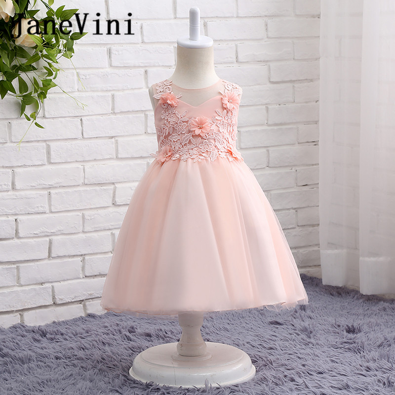 JaneVini Lovely Pink Lace   Flower     Girl     Dresses   for Weddings Kids Evening Party Gowns Tea-Length A-Line Tulle Communion   Dress   2018