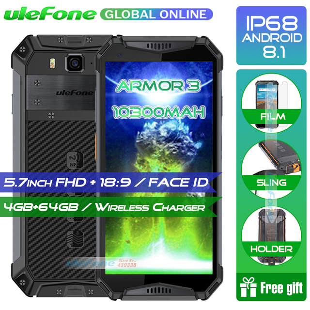 """Ulefone Armor 3 IP68 Waterproof Mobile Phone 5.7"""" FHD+ Octa Core 4GB+64GB NFC Face ID Wireless Charge Smartphone Android 8.1"""