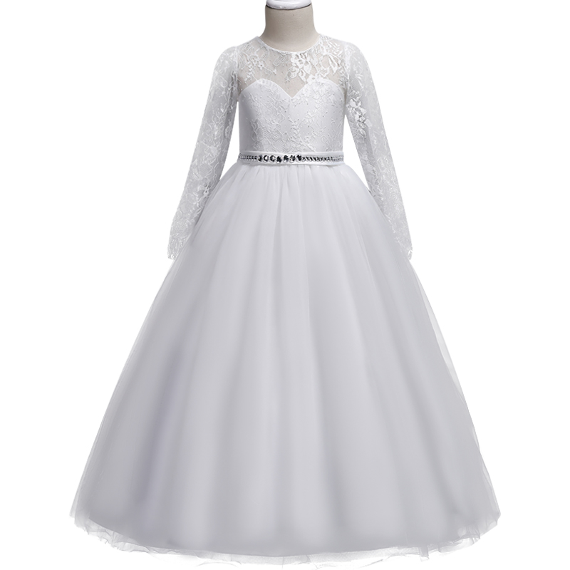 Girls Long sleeve white Wedding Dress Lace hollow diamond Party Tulle Princess Birthday Dress First Communion Gown for Girls hollow out skinny long sleeve dress