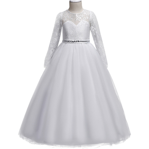 Girls Long sleeve white Wedding Dress Lace hollow diamond Party Tulle Princess Birthday Dress First Communion Gown for Girls