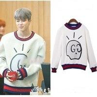 kpop BTS JIMIN cotton white Round Collar women hoodies korean Bangtan Boys loose Harajuku Long sleeve sweatshirts women clothes