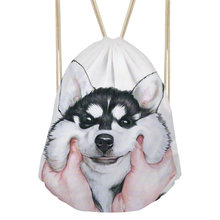 9f2f22105d FORUDESIGNS 3D Husky Dog Cute Animal Cat Drawstring Bag Rucksack Animal for  College Travel Women Girl