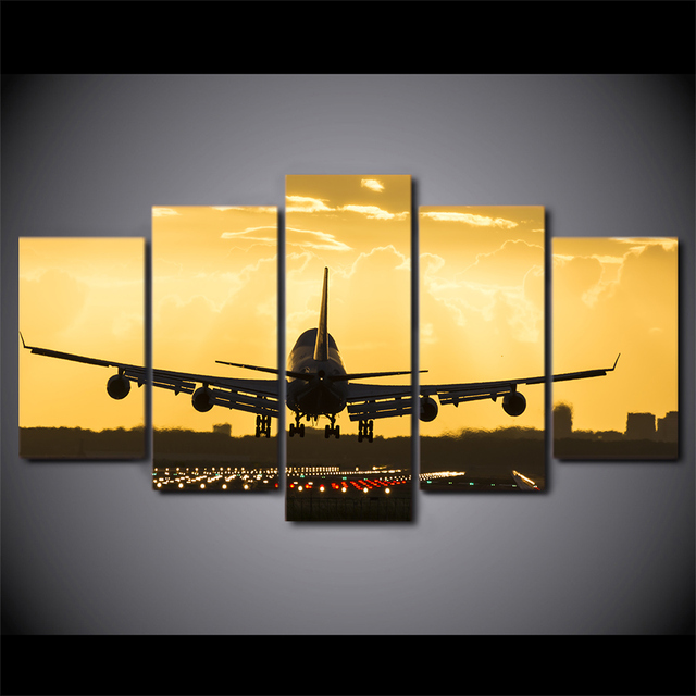 5 Pieces Golden Sunset Plane Wall Art Poster Canvas Pictures For ...