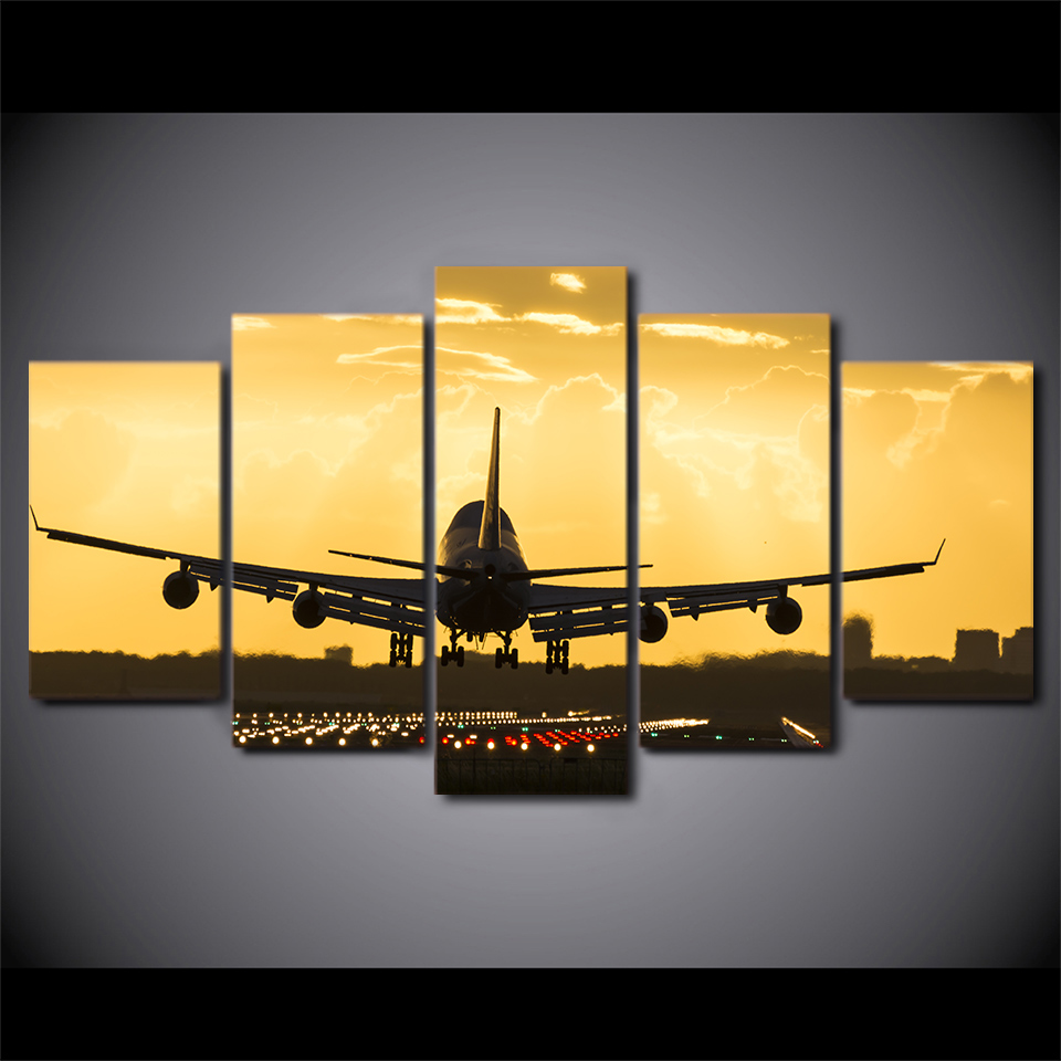 5 Pieces Golden Sunset Plane Wall Art Poster Canvas Pictures For Living Room Home Decor Printed Framed Canvas Oil Painting