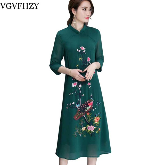 f2bd8b52910 green Black Chiffon Dress Summer 2018 Embroidered Vintage Dress Plus Size  3XL Vestidos Embroidery Cheonsam Qipao Chiffon Dress