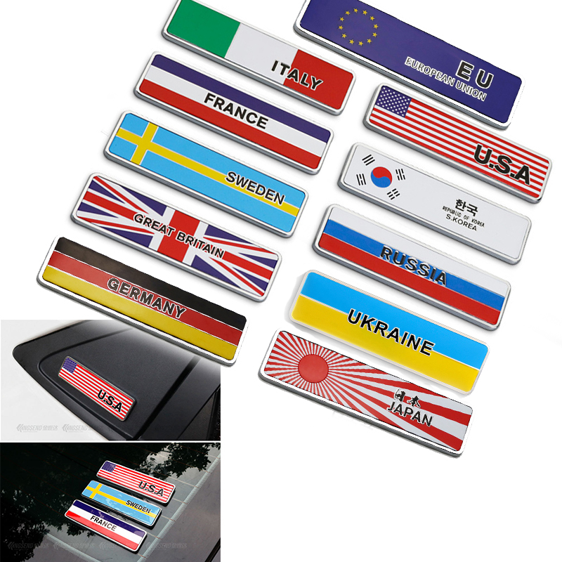 Chrome Car Decoration Flag Emblem Body Sticker For Audi A3 A4 B8 A6 Q5 C7 8v B5 Mercedes Benz W203 W204 W205 W124 W212 AMG