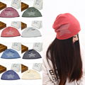 Women Hip-hop Beanie Hat Cotton Rhinestones Five-pointed Star Turban Cap 11 Colors