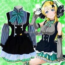 2016 Nueva Barato Japonés Trajes de Cosplay de Anime Love Live! Eli Ayase Lolita Chicas Dulces de Lujo Del Vestido de Mucama Disfraces Cosplay Uniforme