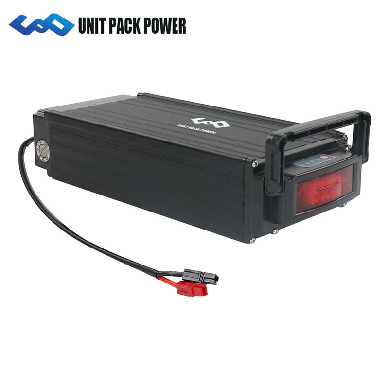 UPP 48V 15Ah rear rack electric bike battery 48v lithium ion battery pack with charger for 750W 500W Bafang BBS02 motor