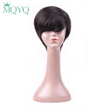 MQYQ Natural Short 4inch Bob Wigs For Black Women Brazilian Straight Human Hair Wigs Pre Plucked With Bang Hair Black 619(China)