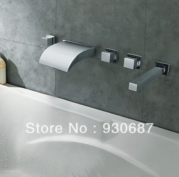Chrome Finish Thermochromic Color Changing LED Light Waterfall Bathroom Bathtub Faucet Mixer Tap