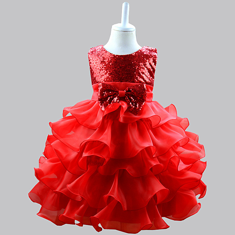 Wedding Party Dress Generous Fashion Red Sequins Tulle Girl Wedding Dress Baby Girl Birthday Party Christmas Dress Beaded Hard Sand Baby Dress Elegant