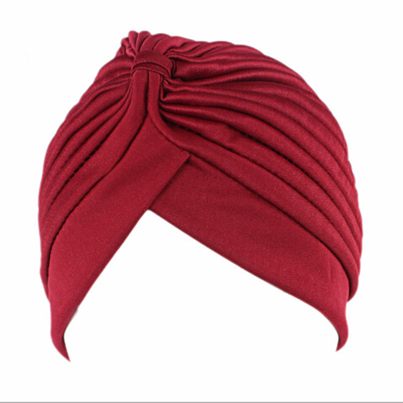 Muslim Turban Cap Women Elastic Stretchy Beanies Hat Bandanas Big Satin Bonnet Indian