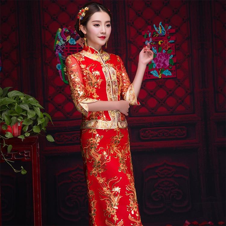 Red-Traditional-Chinese-Bride-Wedding-Gown-2019-New-Cheongsam-Satin-Bride-Dress-Women-Long-Burst-Elegant