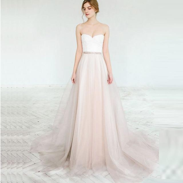 Dusty Pink A Line Wedding Dress 2018 Lorie Vestido De Noiva Princesa