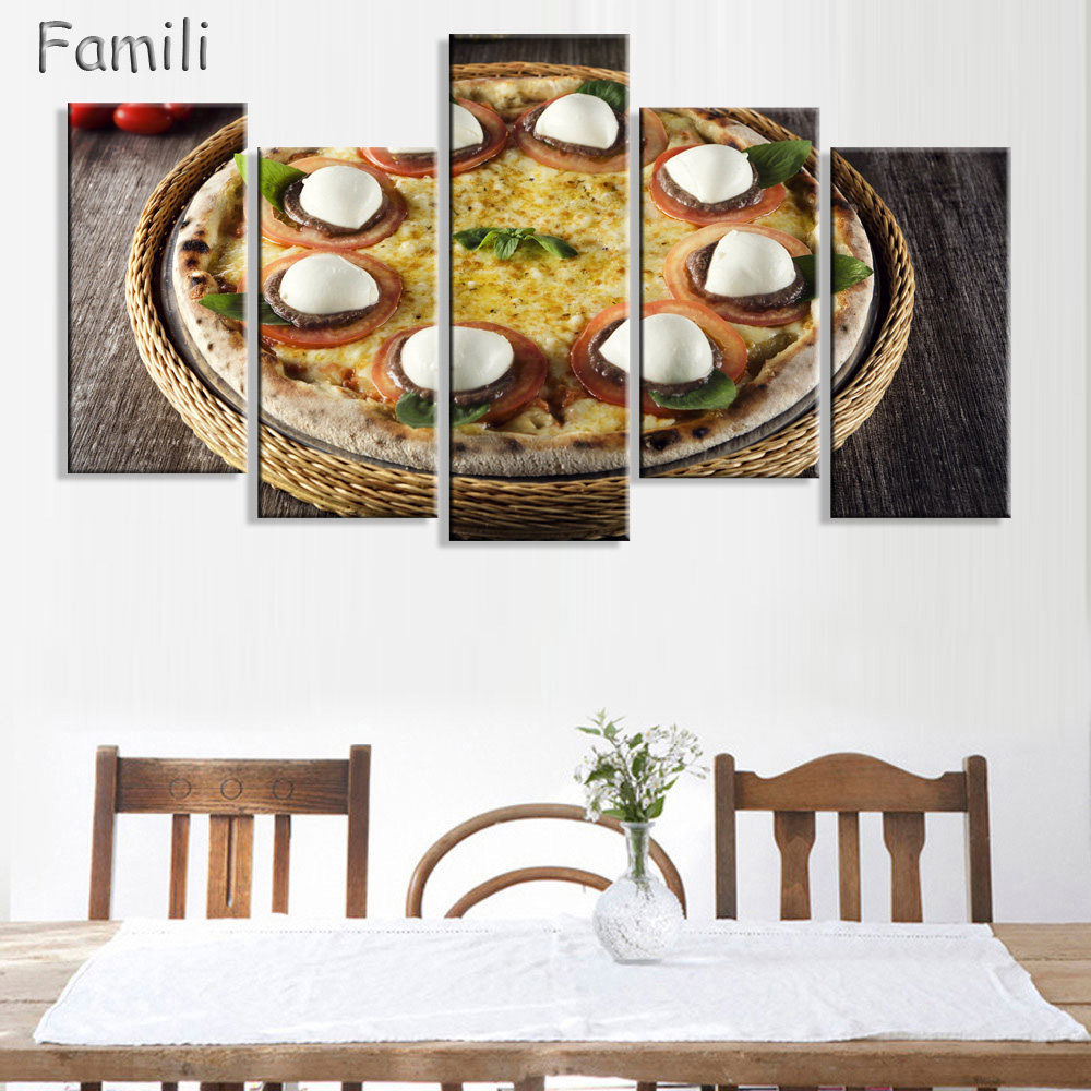 Sausage pizza wall art 5piece poster prints pictures delicious food art unframed painting canvas artwork for living kitchen deco in painting