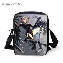 ELVISWORDS Fashion Women Messenger Bags Dark Gothic Angel Prints Pattern Shoulder Girls Flaps Handbags Mini Kids Mochila