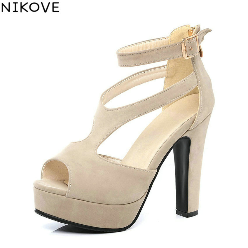 7244f94200cf10 NIKOVE 2017 Princess Style Sexy Peep Toe Summer Women Shoes Thick High Heel  Woman Pumps Platform Shoes Size 34-43