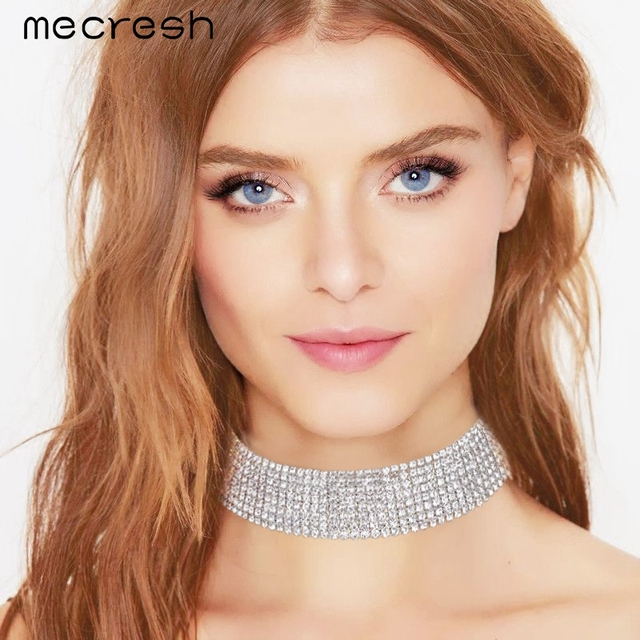 Mecresh Classic Rhinestone Choker Necklace for Women Silver Color Party Prom Wedding Jewelry MXL061