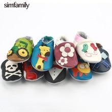 [Simfamily] Recém-nascidos Meninos Meninas Antiderrapante Macio Couro Genuíno Do Bebê Primeiros Sapatos de Bebê Andadores Mocassins 0-24Months Caixa Skid-prova