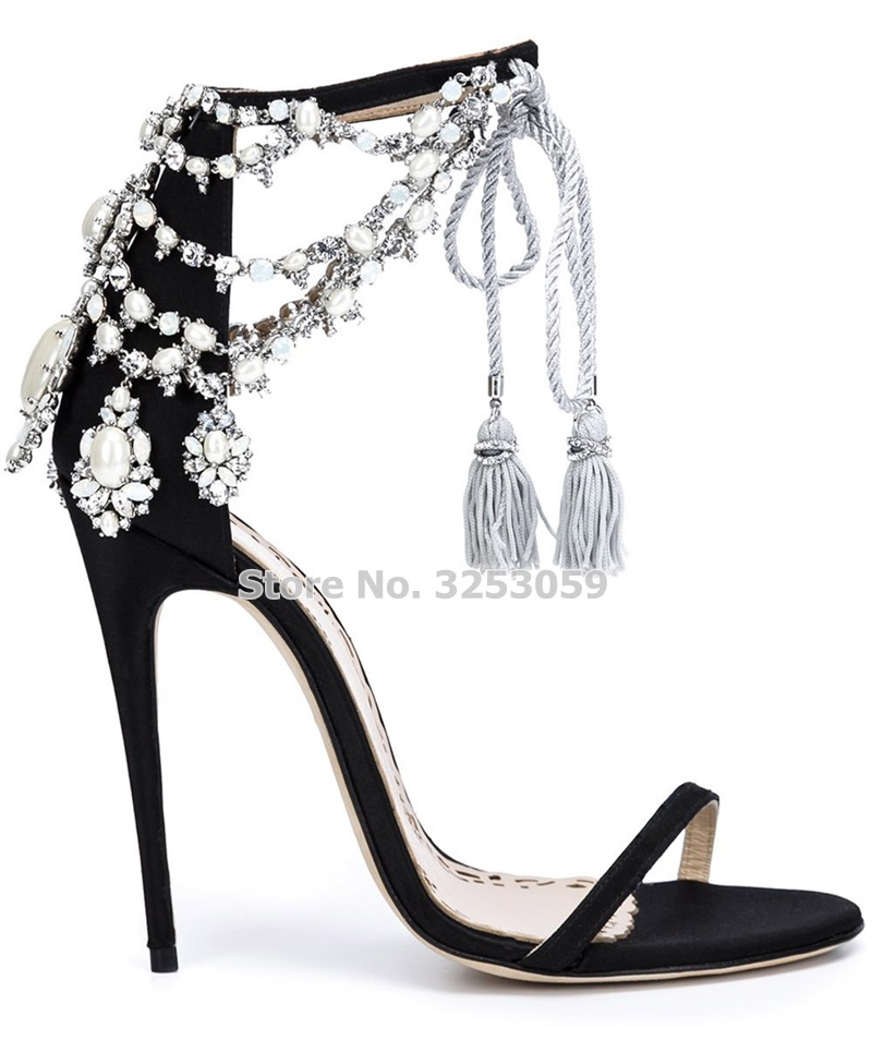 ALMUDENA Ladies Chic Drape Pearl Sandals Bling Bling Crystal Beaded Flowers Wedding Shoes Lace-up Fringe Pumps Thin High Heels