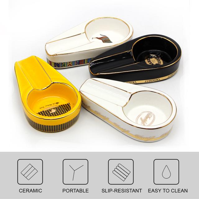 COHIBA Cigar Gadgets Ceramic Cigar Ashtray Single Cigar Holder Round Ash Slot 4 Colors Yellow Tobacco Cigarette Ashtray Gift Box