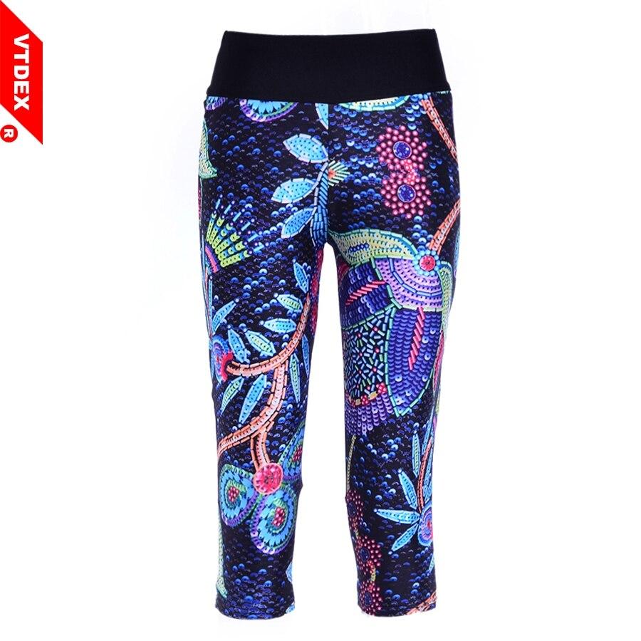 VTDEX Women Yoga Pants Skinny 2017 New Plant Print Capri Fitness Leggings Elastic Breathable Sports 3/4 Tights Girl Quick Dry women s sportive floral print skinny yoga leggings