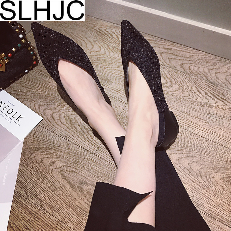 SLHJC Sequined Flats Women 2018 Spring New Pointed Toe V Mouth Flat Heel Casual Shoes Fashion Mature Loafers 2017 womens spring shoes casual flock pointed toe narrow band string bead ballet flats flat shoes cover heel women flats shoes