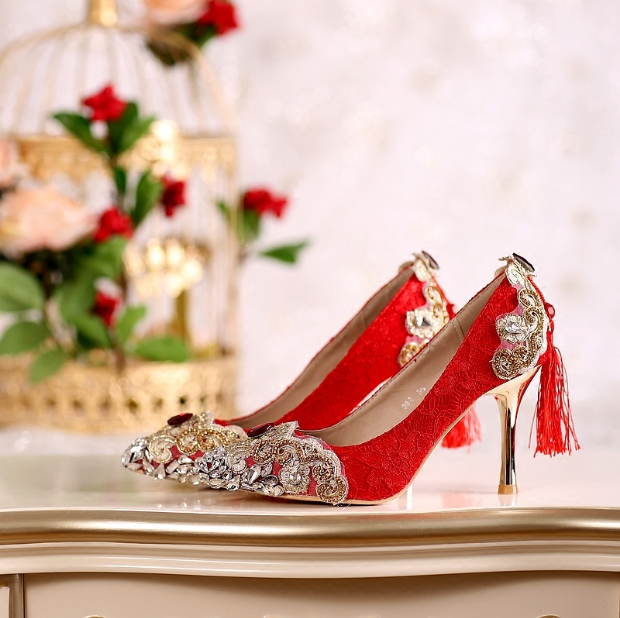 shoes woman red heels wedding shoes crystal diamond chinese national tassel pumps  bride shoe party dress shoes gold color heel 1f98b0de6171