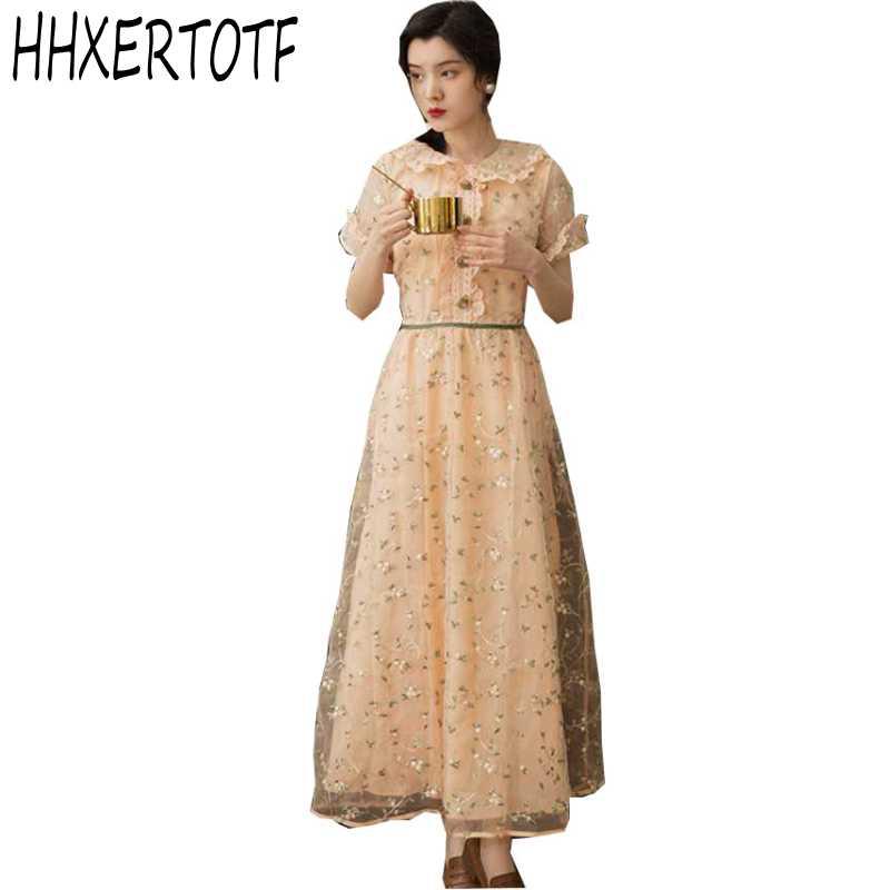 Haute qualité nouvelle mode 2019 Designer robe de piste femmes à manches courtes maille broderie dentelle robe