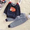 2017 nueva llegada del resorte y otoño bebé marca de ropa de algodón conjunto de la historieta animal lindo muchachos de la muchacha que arropan el juego gratis