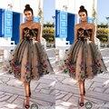 Nueva Llegada Vestidos de Coctel Corto/Mini Apliques de Encaje Escote corazón Rebordear Lentejuelas Negro Vestidos de Fiesta 2017