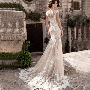 Image 5 - Charming Mermaid Wedding Dresses Detachable Train Bridal Gown Scoop Cap Sleeves Lace Vestidos de Novia Robe de Mariee