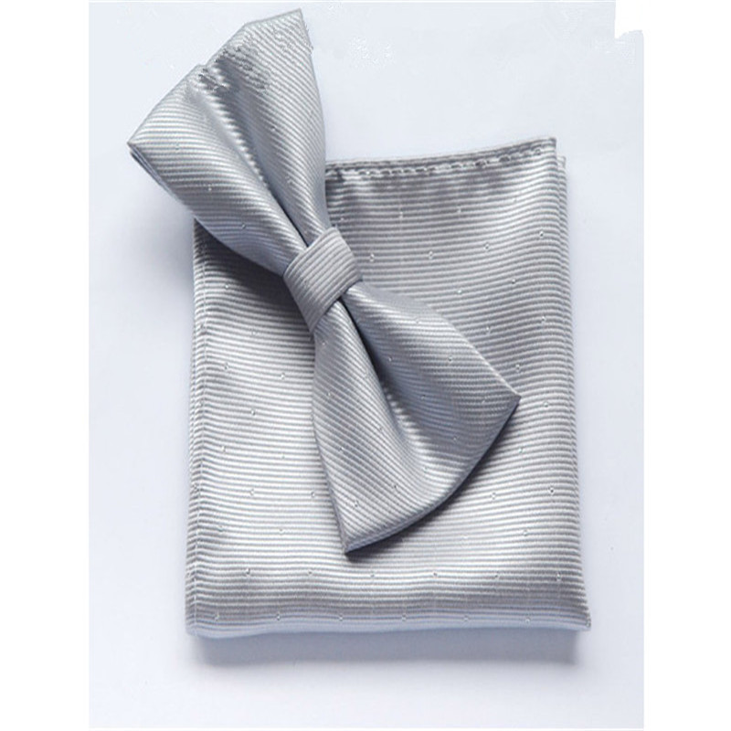 Apparel Accessories Expressive Scst 2017 New Pajaritas White Dot Print Solid Silver Mens Silk Bow Ties For Men Bowtie With Match Pocket Square 2pcs Set Cr052 Less Expensive