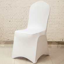 100pcs Universal Cheap Hotel White Chair Cover office Lycra Spandex Chair Covers for Weddings Party Dining Christmas Event Decor(China)