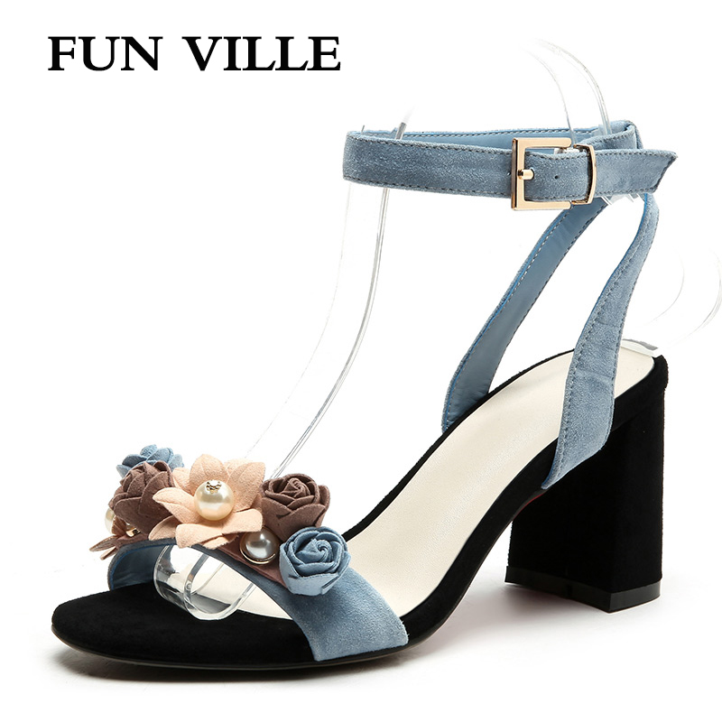 FUN VILLE NewFashion Natural kid suede Women Sandals Summer Shoes Women Open Toe High Heels Party