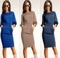 Venda Hot Sexy mulheres vestido 2015 moda Casual vestidos de verão das mulheres vestido longo trecho vestidos de trabalho Plus Size OL escritório vestido