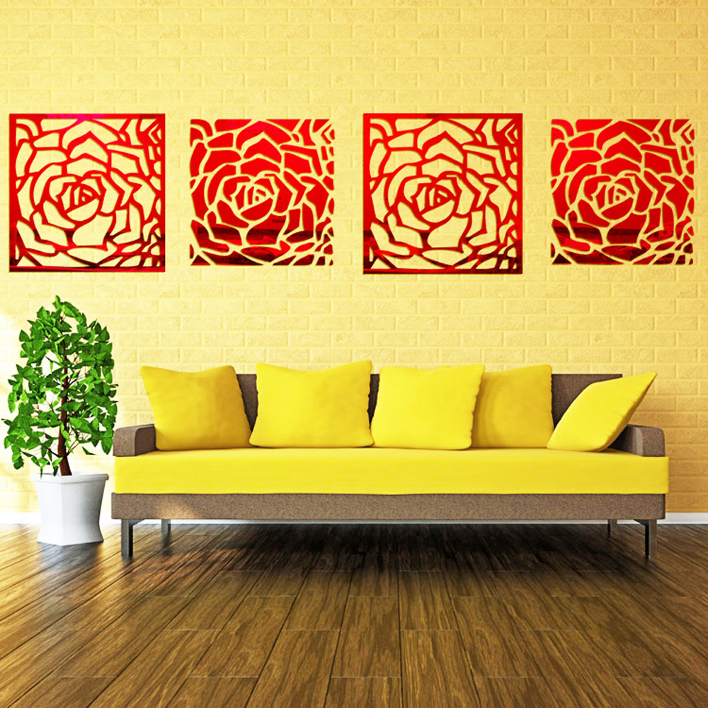 Romantic 4 Rose Flower Wall Art DIY Acrylic Mirror Crystal Wall ...