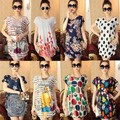 Primavera Hot Coréia Vendas das Mulheres Mistura de Algodão de Manga Curta O-pescoço Solto T-shirt Ocasional de verão
