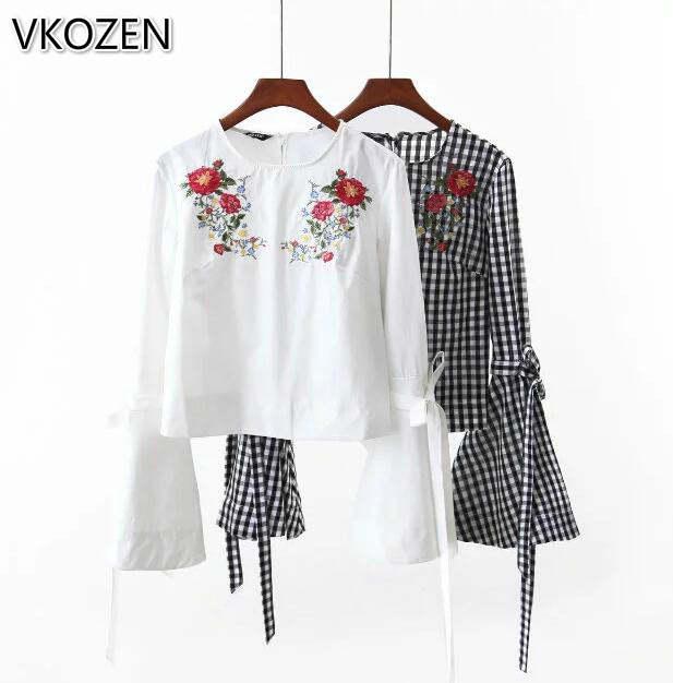 bf8b74b16 2017 blusas da moda camisas do pulôver bordado floral das mulheres da manta  blusas flare amarrado