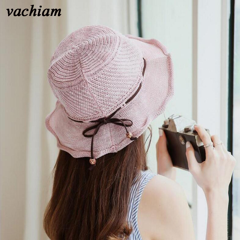 vachiam Spring Summer Bucket Hat Elegant Women Hollow Fisherman Hats For Women Lady knit Bow Sun Hat girl Gift Travel Female