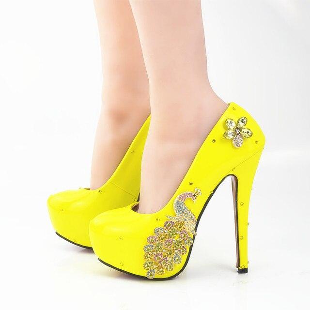 women extreme sexy size 45 womens high heel heels wedding platform bridal party yellow crystal phoenix