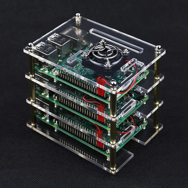 3 Layer Raspberry Pi 4 Model B Acrylic Case Clear Box Cover for Raspberry Pi + Cooling Fans for DIY Raspberry Pi 4/3B+/3 image