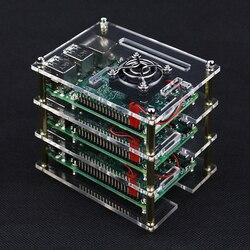 3 camada 4 Raspberry Pi Caso Acrílico Caixa Transparente Capa para Raspberry Pi Modelo B + Ventiladores De Refrigeração para DIY raspberry Pi 4/3B +/3