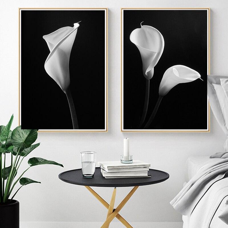 Aliexpress Com Buy 4 Panels Modern Printed Coffee Canvas: Aliexpress.com : Buy Nordic White Flowers Canvas Black