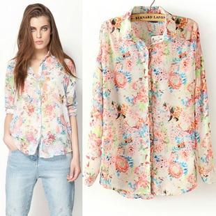 08b646f182909b Bershka floral print shirt print long-sleeve chiffon shirt fancy shirt  fashion all-match